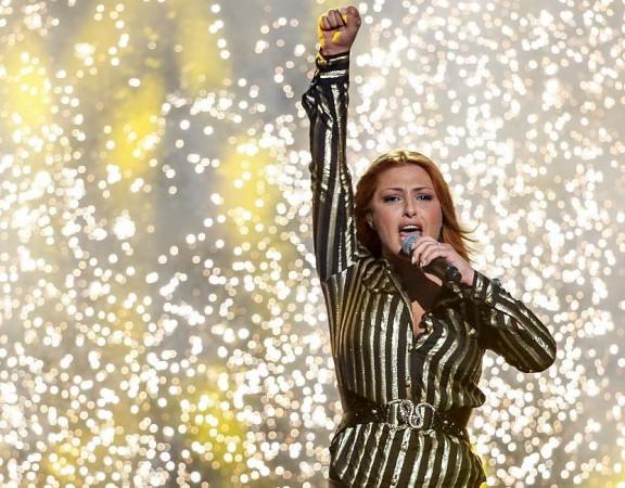 "STOCKHOLM 2014-03-08 Helena Paparizou framför ""Survivor"" i Melodifestivalfinalen 2014 i Friends arena på lördagen. Foto: Fredrik Persson / TT / Kod 7590"